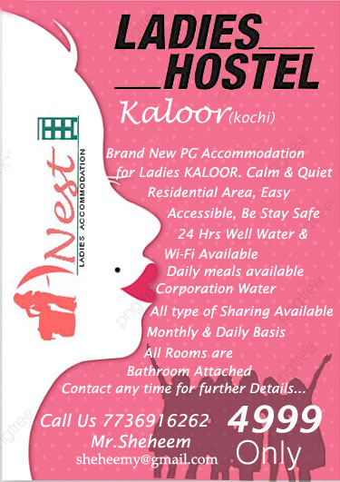 BRAND NEW PG ACCOMMODATION FOR LADIES KALOOR KOCHI